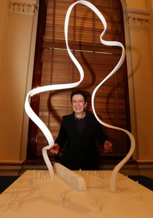Defiant: Clover Moore with the cloud sculpture planned for George Street.