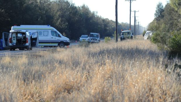 Police block off the road at Talga Lane on the Newell Highway at Croppa Creek.