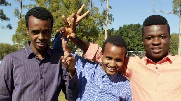 Kuraby resident Abshir Mohamed from Somalia, Inala resident Abdi Muhumed, and Sunnybank resident Mohamed Beauogui at the ...