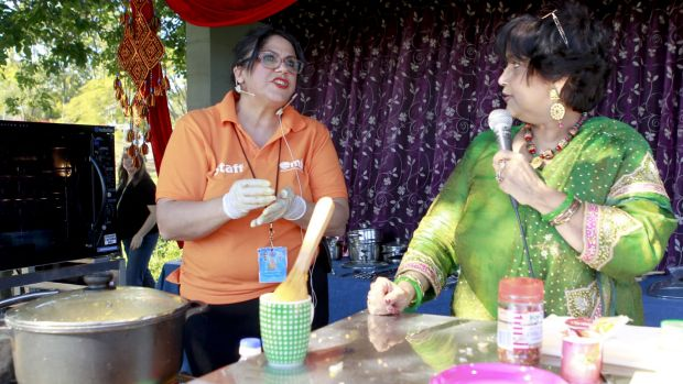 A cooking demonstration at a multicultural celebration in Annerley to mark World Refugee Day.