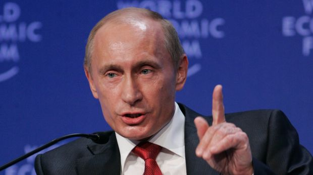 Strong ties: Russian President Vladimir Putin speaking to business leaders at the World Economic Forum during the global ...