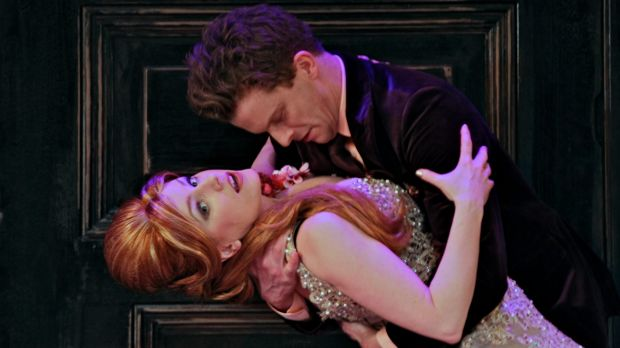 Flawless delivery: Leon Ford as Tartuffe and Helen Dallimore as Elmire in Bell Shakespeare's Moliere.