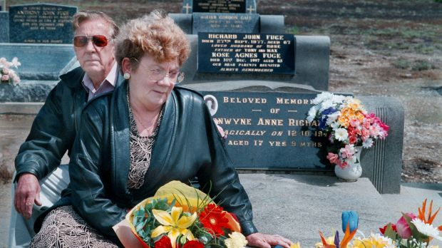 Distressed but relieved: Stan and Noelle Richardson visiting their daughter Bronwynne's grave in 1998, 25 years after ...
