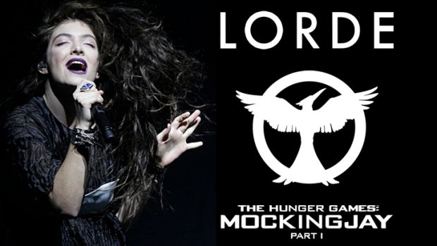 Lorde and a mock cover of <i>Hunger Games</i> single posted on the movie's Facebook page.