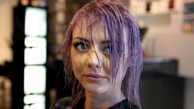 Transformation: Ms Mazzon goes through the process of getting her hair dyed.