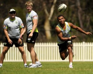 Andrew McFadden, left, during his coaching stint at the Canberra Raiders in 2012.