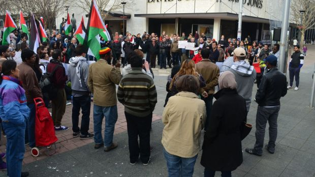 Supporters of Palestine united in Civic on Saturday.